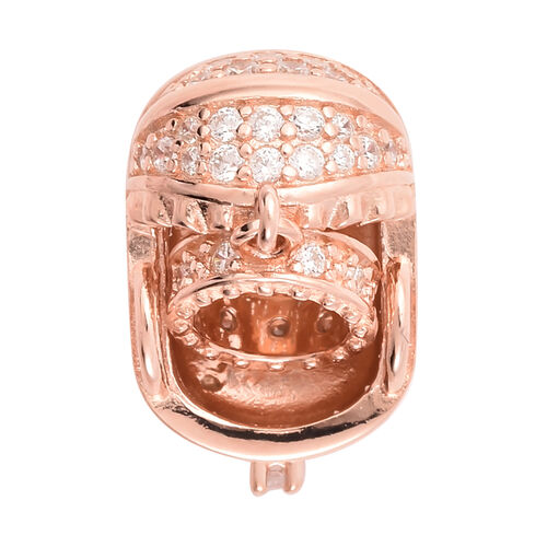 Charmes De Memoire - Simulated Diamond Cradle Charm in Rose Gold Overlay Sterling Silver  Charm/Pendant
