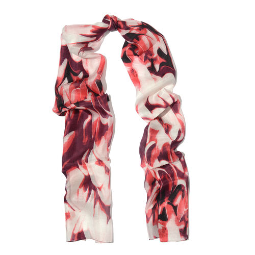 100% Mulberry Silk Burgundy, Red and Multi Colour Handscreen Printed Scarf (Size 180x50 Cm)