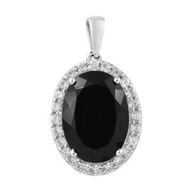 Black Tourmaline (Ovl 18x13 mm, 12.65 Ct), Natural Cambodian Zircon Halo Pendant in Platinum Overlay