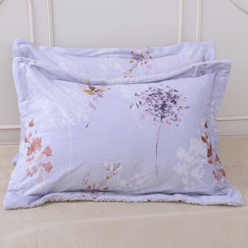 4 Piece Set - Serenity Night Lavender Floral Print Comforter, Fitted Sheet and 2 Pillow Covers