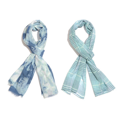 Set of 2 - 100% Cotton Blue, Green and White Colour Checks Pattern Scarf (Size 180X55 Cm), Blue, Green and White Colour Floral Pattern Scarf (Size 180X100 Cm)