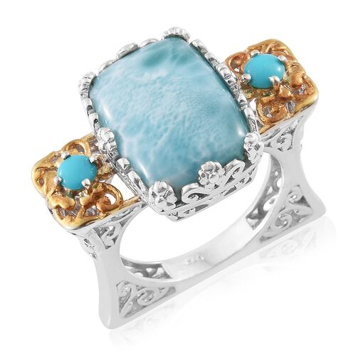 One Time Deal-Extremely Rare Larimar (Cush 16.25 Ct), Arizona Sleeping Beauty Turquoise Ring in Plat