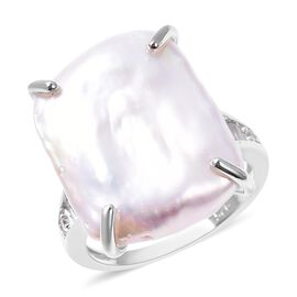 Keshi Baroque Pearl and Natural White Cambodian Zircon Ring in Rhodium Overlay Sterling Silver