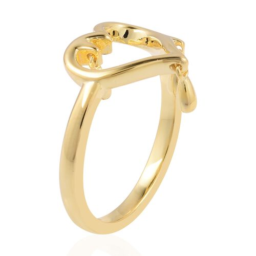 Lucy Q Open Melting Heart Ring with 3 Drip in Yellow Gold Overlay Sterling Silver