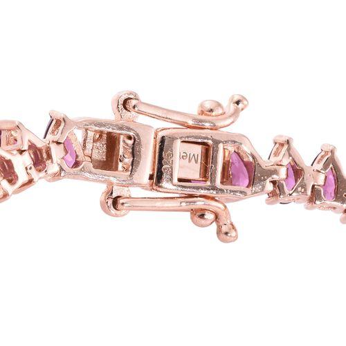 Rhodolite Garnet (Pear) Bracelet (Size 7.5) in Rose Gold Overlay Sterling Silver 14.000 Ct. Silver wt. 10.00 Gms.