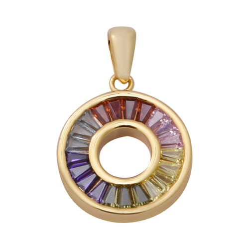 ELANZA Simultaed Rainbow Sapphire Pendant in Yellow Gold Overlay Sterling Silver 2.10 Ct.