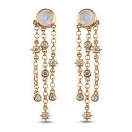 Rainbow Moonstone and Natural Cambodian Zircon Dangling Earrings (with Push Back) in 14K Gold Overla