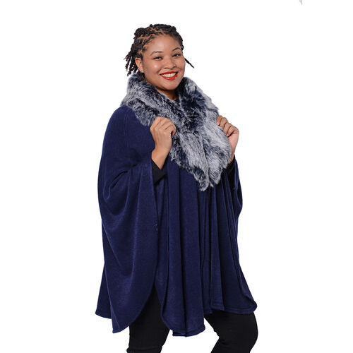 Designer Inspired Cape with Faux Fur Collar (One Size, L: 80cm) Navy