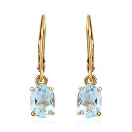 Sky Blue Topaz (Ovl) Earrings in 14K Gold Overlay Sterling Silver 2.75 Ct.