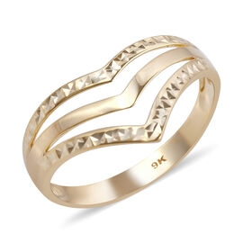 Royal Bali Collection - 9K Yellow Gold Wishbone Ring (Size L)