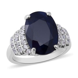 OTO - Kanchanburi Blue Sapphire (Ovl 14x10mm) and Natural Cambodian Zircon Ring in Sterling Silver 7