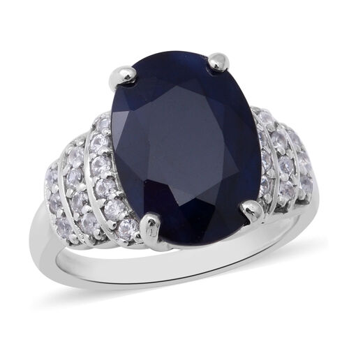 Kanchanburi Blue Sapphire (Ovl 14x10mm) and Natural Cambodian Zircon Ring in Sterling Silver 7.89 Ct