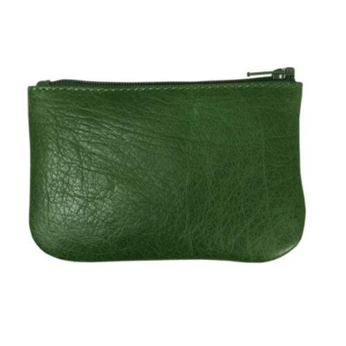 Assots London POPPY Full Grain Leather Zip Top Coin Purse (Size 12x8cm) - Green