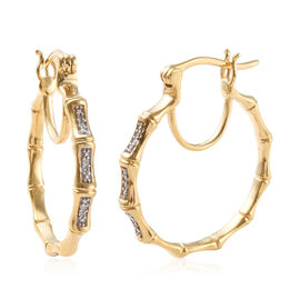 Diamond (Rnd) Hoop Earrings (with Clasp) in 14K Gold Overlay Sterling Silver 0.07 Ct, Silver wt 7.00