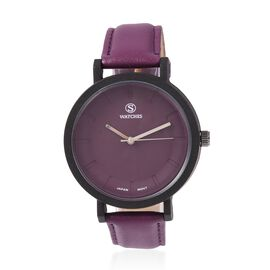 STRADA Japanese Movement Water Resistant Watch with Purple Strap