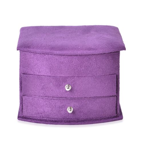 Purple Colour 3 Layer Velvet Jewellery Box with Mirror Inside and 2 Removable Drawers (Size 14.5x12x