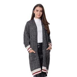 Elegant Stripe Pattern Coat with Long Sleeves (Size 93x60x40 Cm) Black and White Colour