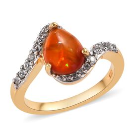 Orange Ethiopian Opal (Pear), Natural Cambodian Zircon Ring in 14K Gold Overlay Sterling Silver 1.25