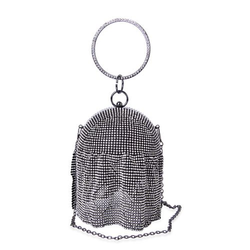 Premier Collection- White Austrian Crystals Embellished Black Colour Clutch Bag with Circular Handle