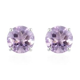 Pink Amethyst Stud Earrings (with Push Back) in Sterling Silver 4.75 Ct.