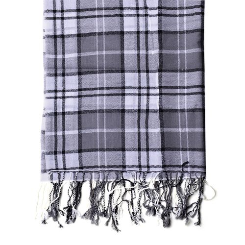 100% Wool Grey, Black and White Colour Checks Pattern Scarf with Tassels (Size 170X68 Cm)