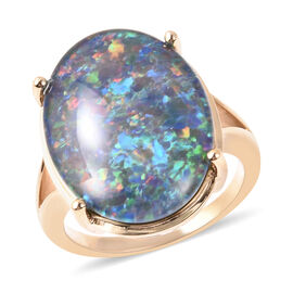 9K Yellow Gold AAA Australian Boulder Opal (Ovl 20x15mm) Solitaire Ring