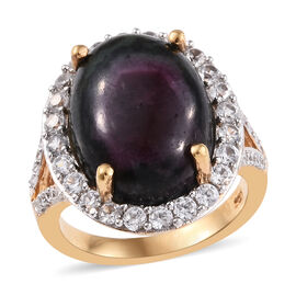 12.50 Ct Ruby Zoisite and Zircon Halo Ring in 14K Gold Plated Silver 4.96 grams