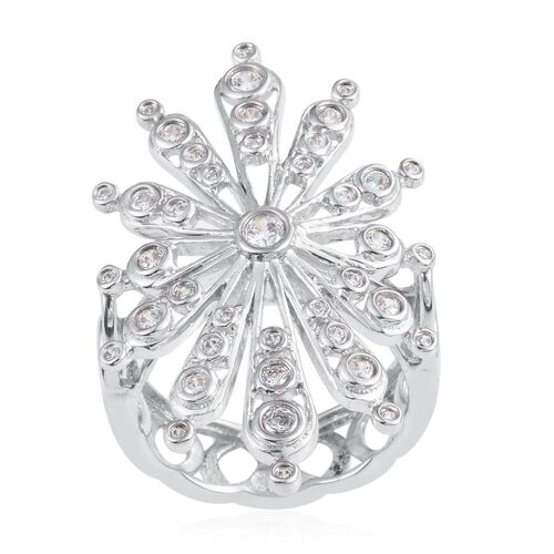 J Francis - Platinum Overlay Sterling Silver (Rnd) Snowflake Ring Made with SWAROVSKI ZIRCONIA
