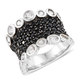 6.50 Ct Boi Ploi Black Spinel and Topaz Cluster Ring in Platinum Plated Silver 9.51 Grams