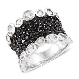 Boi Ploi Black Spinel (Rnd), White Topaz Ring in Platinum Overlay With Black Plating Sterling Silver