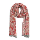 Red and Light Grey Colour Scarf (Size 190x70 Cm)