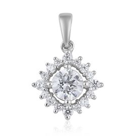 J Francis - Platinum Overlay Sterling Silver Pendant  Made with SWAROVSKI ZIRCONIA