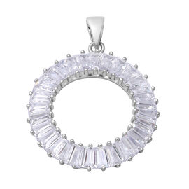 ELANZA Simulated Diamond (Bgt) Pendant in Rhodium Overlay Sterling Silver, Silver wt 5.00 Gms