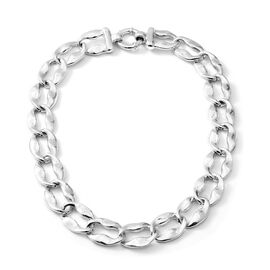 20 Inch Fancy Curb Link Necklace in Rhodium Plated Sterling Silver 56.34 Grams