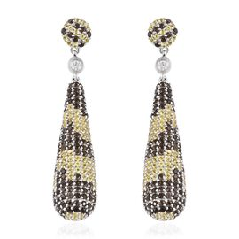 Brazilian Smoky Quartz (Rnd),Yellow Sapphire and Natural White Cambodian Zircon Dangle Earrings (wit