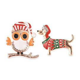2 Piece Set - White Austrian Crystal (Rnd) Christmas Special Enamelled Puppy and Owl Brooch in Yello
