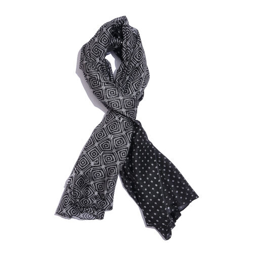 100% Mulberry Silk Grey Colour Optical Art and Polka Dots Pattern Black Colour Scarf (Size 180x100 Cm)