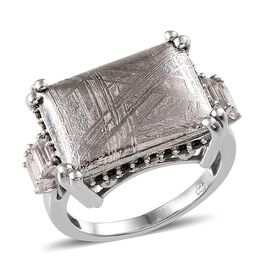 Meteorite (Bgt 19.50 Ct), Boi Ploi Black Spinel and White Topaz Ring in Platinum Overlay Sterling Si