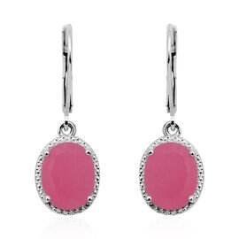 Pink Jade (Ovl 10x8 mm) Lever Back Earrings in Sterling Silver 4.80 Ct.