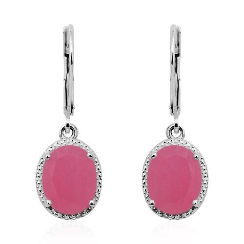 4.80 Ct Pink Jade Drop Earrings in Sterling Silver