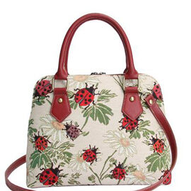 SIGNARE - Tapestry Pug Convertible Ladybird Shoulder Bag with Removable Strap (36 x 23 x 12.5 cms)