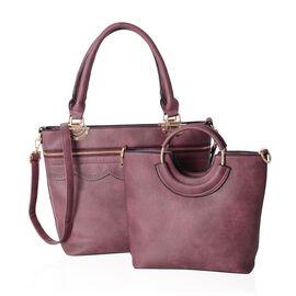 Set of 2 - Burgundy Colour Handbag with Adjustable Shoulder Strap (Size 38x30x14x28.5 Cm)