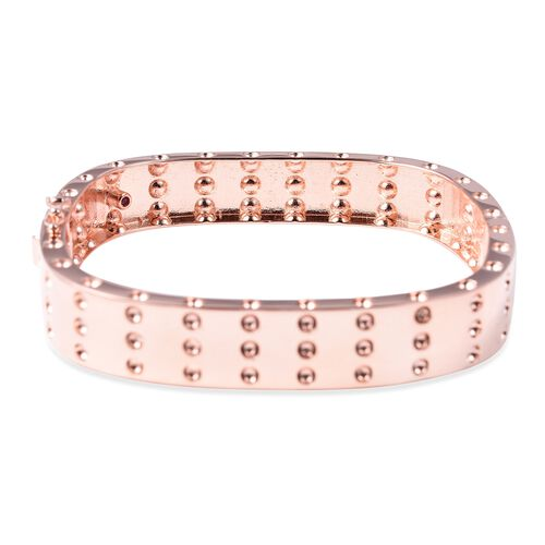RACHEL GALLEY Majestic Collection Burmese Ruby (Rnd) Bangle (Size 7) in Rose Gold Overlay Sterling Silver, Silver wt 41.21 Gms