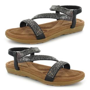 ELLA Joanna Ladies Diamante Sandal with Elasticated Strap in Black