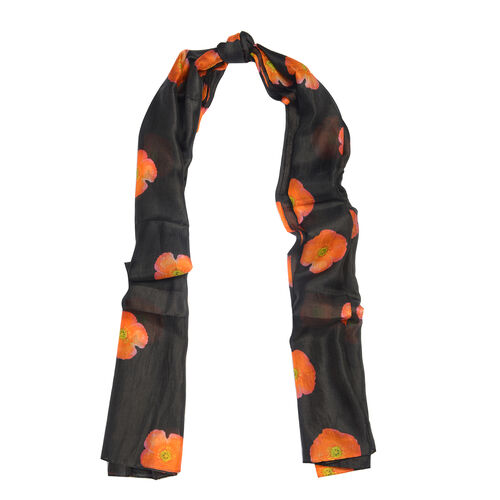 100% Mulberry Silk Orange Poppy Flower Pattern Black Colour Scarf (Size 180X100 Cm)
