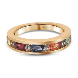 Rainbow Sapphire and Natural Cambodian Zircon Band Ring in 14K Gold Overlay Sterling Silver 1.31 Ct.