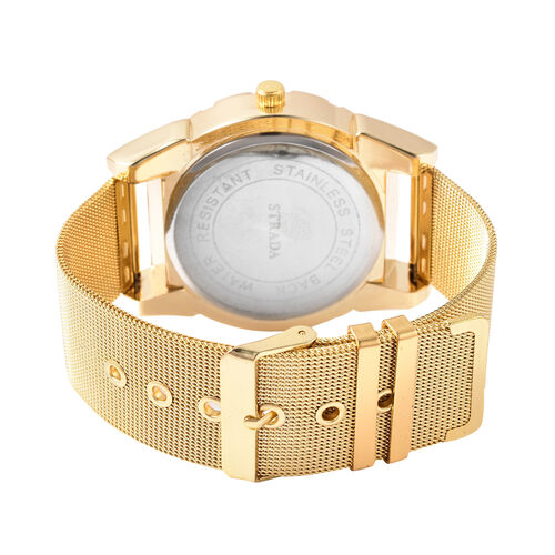 STRADA Japanese Movement Black Dial Water Resistant Watch with Yellow Gold Tone Mesh Style Strap in Stainless Steel