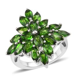5.50 Ct Russian Diopside Cluster Floral Ring in Platinum Plated Sterling Silver 5 Grams