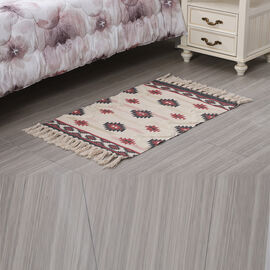 Turkish Style Pattern Tufted Rug with Tassel in Cream, Grey and Pink (Size 57x90cm)