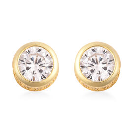 ELANZA Simulated Diamond (Rnd) Stud Earrings (with Push Back) in Yellow Gold Overlay Sterling Silver